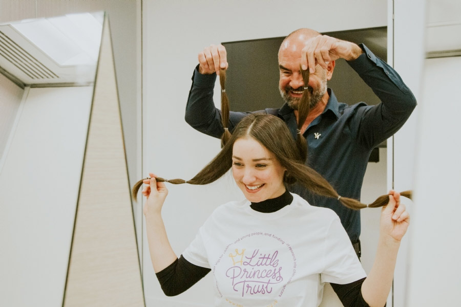 Celebrity hairdresser and Little Princess Trust ambassador Andrew Barton shows supporters the best way to cut - and donate - their hair to our charity in a video which can be seen by clicking on this link: https://www.littleprincesses.org.uk/donate-hair/